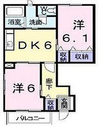 香川県高松市六条町の賃貸アパートの間取り