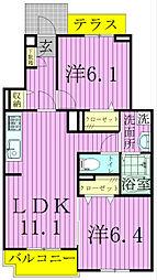 千葉県松戸市六実3丁目の賃貸アパートの間取り