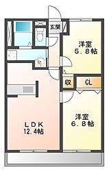 PARK COURT5(パークコート)[2階]の間取り