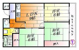 大阪府吹田市五月が丘西の賃貸マンションの間取り