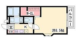 神鉄三田線 五社駅 徒歩10分の賃貸アパート 2階1Kの間取り