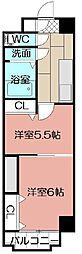 中津口センタービル[601号室]の間取り