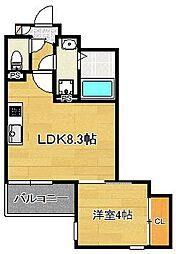 JR筑肥線 姪浜駅 徒歩17分の賃貸アパート 3階1LDKの間取り