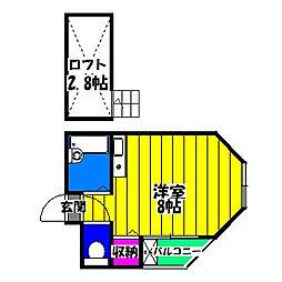 福岡県福岡市博多区諸岡6丁目の賃貸アパートの間取り