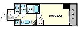 エス・キュート京町堀(旧プレサンス京町堀サウス) 5階1Kの間取り