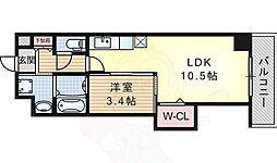 おおさか東線 南吹田駅 徒歩2分の賃貸マンション 3階1LDKの間取り