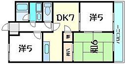 兵庫県神戸市西区小山2丁目の賃貸アパートの間取り
