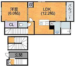 大阪府大阪市平野区加美西1丁目の賃貸アパートの間取り