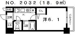エステムコート四天王寺夕陽丘[8階]の間取り