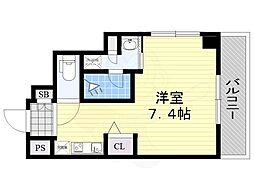 阪急京都本線 南茨木駅 徒歩3分の賃貸マンション 6階ワンルームの間取り