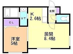 LA Conforto Chitose 2階1LDKの間取り