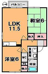 奈良県奈良市北永井町の賃貸アパートの間取り