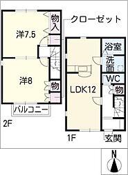[タウンハウス] 愛知県名古屋市名東区極楽3丁目 の賃貸【/】の間取り