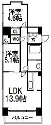 北海道札幌市中央区南四条西8丁目の賃貸マンションの間取り