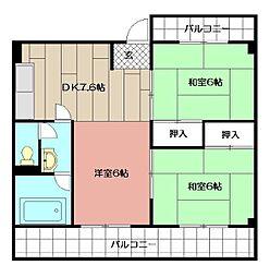 津田第一ビル[203号室]の間取り