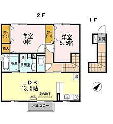 兵庫県赤穂市大橋町の賃貸アパートの間取り