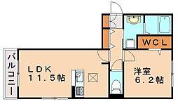 JR香椎線 伊賀駅 徒歩5分の賃貸アパート 1階1LDKの間取り