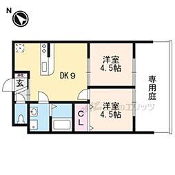 JR東海道・山陽本線 長岡京駅 徒歩30分の賃貸アパート 1階2DKの間取り