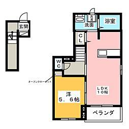 愛知県名古屋市中川区葉池町2丁目の賃貸アパートの間取り