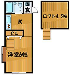 東京都小平市小川西町3丁目の賃貸アパートの間取り