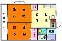 福岡県福岡市東区舞松原5丁目の賃貸アパートの間取り