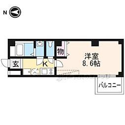 京都市営烏丸線 北大路駅 バス7分 建勲神社前下車 徒歩1分の賃貸マンション 4階1Kの間取り
