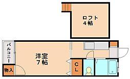 ハピネス白木原[3階]の間取り