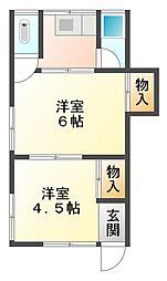 兵庫県神戸市垂水区塩屋町9丁目の賃貸アパートの間取り