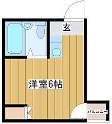 アヴァンス淀川-east 2階ワンルームの間取り