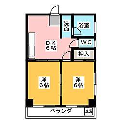 愛知県名古屋市名東区文教台2丁目の賃貸マンションの間取り