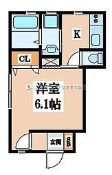 メゾンソレイユ長栄寺[102号室]の間取り