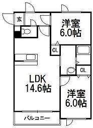 北海道札幌市手稲区富丘一条4丁目の賃貸マンションの間取り