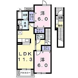 エスポワール杢師[2階]の間取り