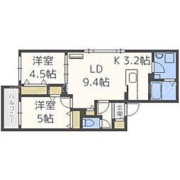 北海道札幌市東区北十八条東8丁目の賃貸マンションの間取り