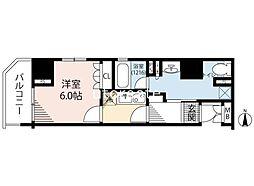 リーガル南船場III 15階1Kの間取り