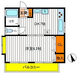 東京都立川市錦町2丁目の賃貸アパートの間取り