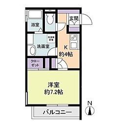 神奈川県海老名市中新田1丁目の賃貸アパートの間取り