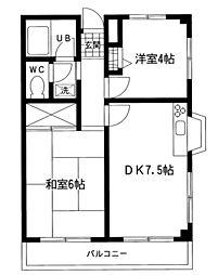ロイヤルハイツ NO2[3階]の間取り