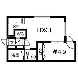札幌市営東西線 円山公園駅 徒歩13分の賃貸マンション 3階1LDKの間取り
