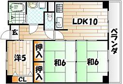イエローマンション小倉[11階]の間取り