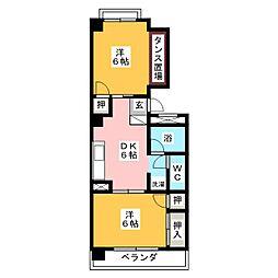 愛知県名古屋市中村区京田町2丁目の賃貸マンションの間取り
