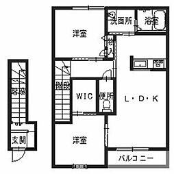 兵庫県三木市大塚の賃貸アパートの間取り