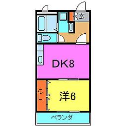 兵庫県加古川市別府町本町1丁目の賃貸マンションの間取り