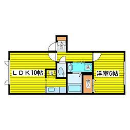 札幌市営東豊線 新道東駅 徒歩9分の賃貸アパート 1階1LDKの間取り