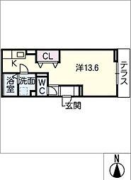 GRANDD-room若宮 1階ワンルームの間取り