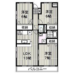 ロイヤルマンション柿田[505号室]の間取り