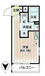 リチェンシア横浜三ツ沢下町 2階ワンルームの間取り