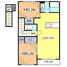 東京都東久留米市柳窪4丁目の賃貸アパートの間取り