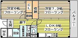 サンロイヤル新大阪[5階]の間取り