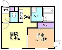 Canal west Otaru 5階1LDKの間取り